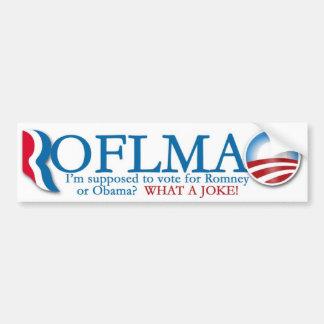 Romney/pegatina para el parachoques de Obama ROTFL Etiqueta De Parachoque