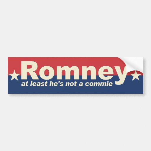 Romney - por lo menos él no es commie - Obama anti Etiqueta De Parachoque