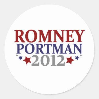 Romney Portman 2012 Pegatina Redonda