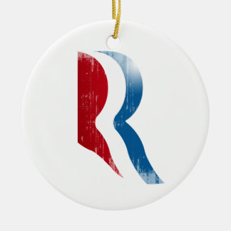 ROMNEY R LOGO.png Double-Sided Ceramic Round Christmas Ornament