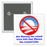 Romney Raised More Kids Than Obama Created Jobs Buttons