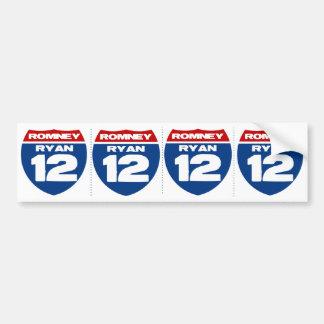 Romney - Ryan- 12 (4 stickers in 1) Car Bumper Sticker