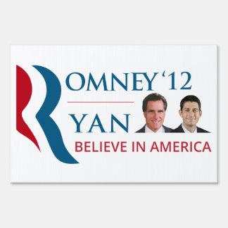 Romney Ryan 12 - Believe in America Signs