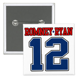 Romney Ryan 12, equipo universitario deportivo Pin Cuadrada 5 Cm