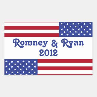 Romney & Ryan 2012-American Flag Rectangular Sticker