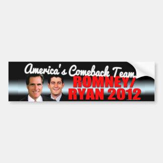 Romney/Ryan 2012 America's Comeback Team Black Bg Bumper Sticker