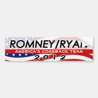 Romney/ Ryan 2012 America's Comeback Team Flag Bumper Sticker