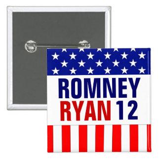 Romney Ryan 2012 2 Inch Square Button