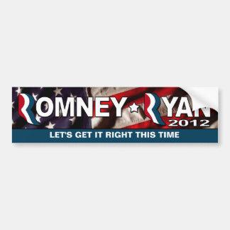 Romney/Ryan 2012 - consígalo PARA ENDEREZAR este v Etiqueta De Parachoque