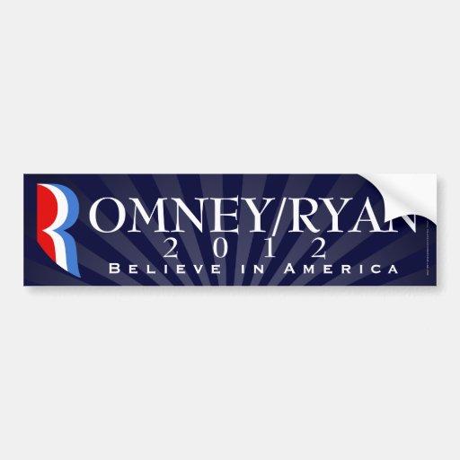 Romney/Ryan 2012, cree en América, etiqueta azul Etiqueta De Parachoque