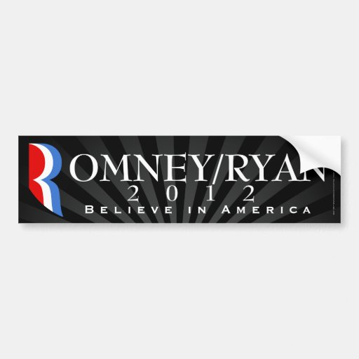 Romney/Ryan 2012, cree en América, etiqueta negra Etiqueta De Parachoque