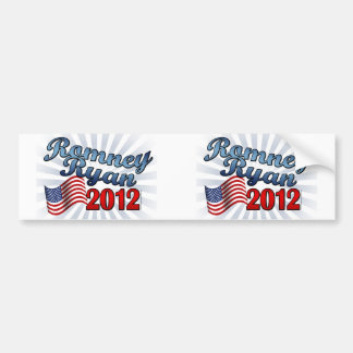 Romney Ryan 2012, Cute Script w/Flag Bumper Sticker