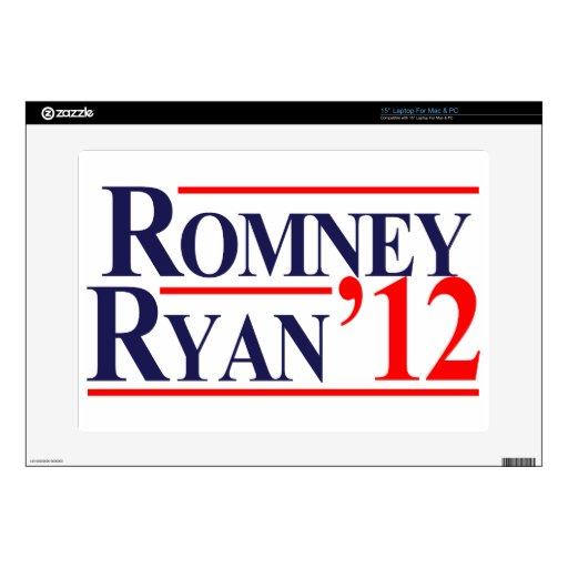 "Romney Ryan 2012 Decal For 15"" Laptop"