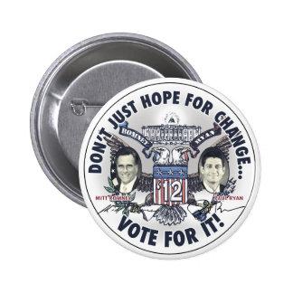 Romney Ryan 2012 dos dirigió Eagle Jugate Pin Redondo De 2 Pulgadas