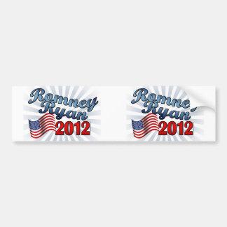 Romney Ryan 2012 escritura linda w Flag Pegatina De Parachoque