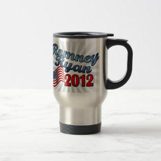 Romney Ryan 2012, escritura linda w/Flag Taza De Viaje