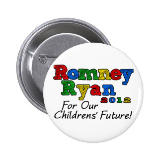 Romney/Ryan 2012, For our Childrens' Future Pinback Button