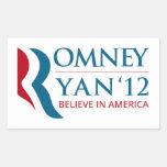 Romney / Ryan 2012 for US President and VP Rectangular Sticker