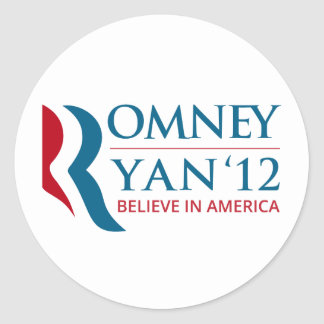 Romney Ryan 2012 for US President and VP Round Sticker