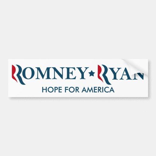 Romney / Ryan 2012 - HOPE FOR AMERICA Car Bumper Sticker