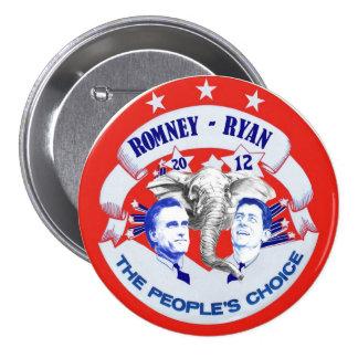 Romney - Ryan 2012 la opción de la gente Pin Redondo De 3 Pulgadas