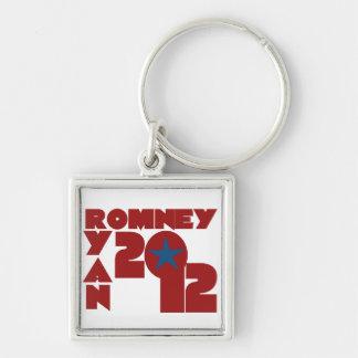 Romney Ryan 2012 Llavero Cuadrado Plateado