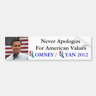 Romney/Ryan 2012 nunca se disculpa por América Pegatina Para Auto
