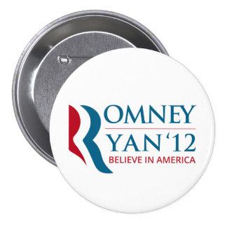 Romney/Ryan 2012 para el presidente de los E.E.U.U Pin Redondo 7 Cm
