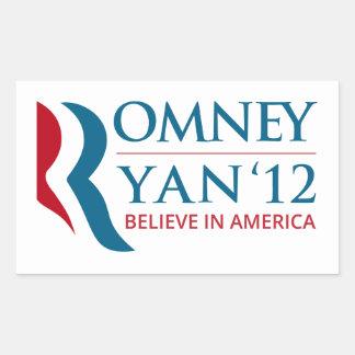 Romney/Ryan 2012 para el presidente de los Pegatina Rectangular