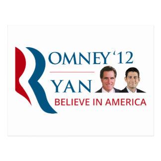 Romney/Ryan 2012 para el presidente de los Tarjetas Postales