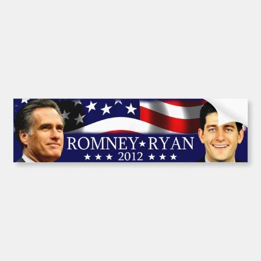 Romney/Ryan 2012 Pegatina De Parachoque