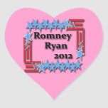 Romney Ryan 2012 Pegatina En Forma De Corazón