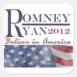 Romney - Ryan 2012 pegatinas Calcomania Cuadradas