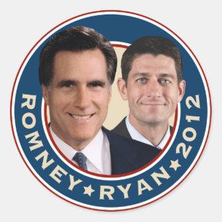 Romney-Ryan 2012 pegatinas del círculo Pegatina Redonda