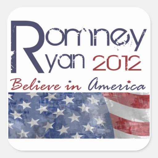 Romney - Ryan 2012 pegatinas Pegatinas Cuadradas
