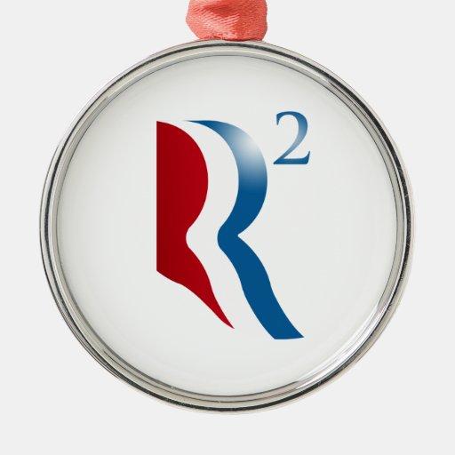 ROMNEY RYAN 2012 - R SQUARED ROUND METAL CHRISTMAS ORNAMENT
