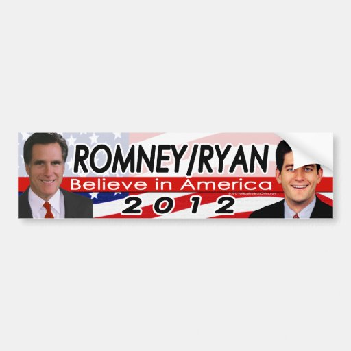 Romney/Ryan 2012 Republican Presidential Election Bumper Stickers