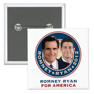 Romney-Ryan 2012 Square Campaign Button