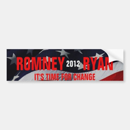 Romney Ryan 2012 Time for Change Bumper Sticker Car Bumper Sticker