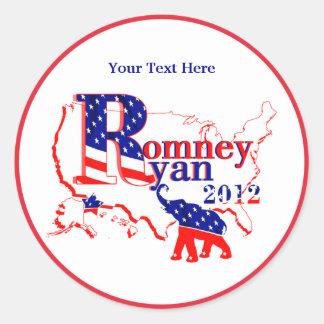 Romney Ryan 2012 - un equipo que gana para la Pegatina Redonda