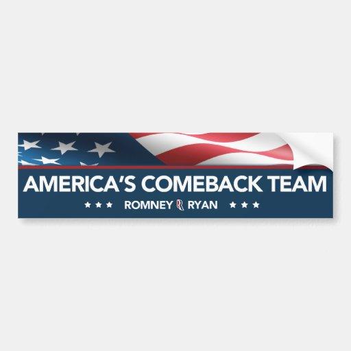 Romney Ryan America's Comeback Team Bumper Sticker Car Bumper Sticker