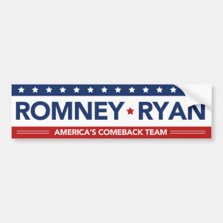Romney Ryan Americas Comeback Team Bumper Sticker Car Bumper Sticker