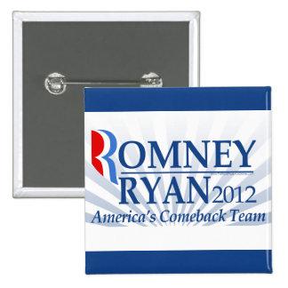 Romney Ryan, America's Comeback Team Pinback Buttons