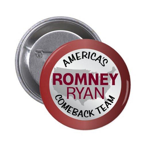 Romney Ryan America's Comeback Team Button