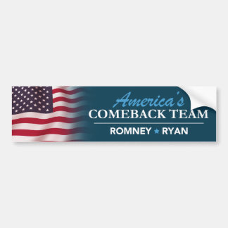 Romney Ryan America's Comeback Team Flag Bumper Car Bumper Sticker