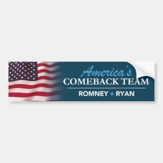 Romney Ryan America's Comeback Team Flag Bumper Car Bumper Sticker