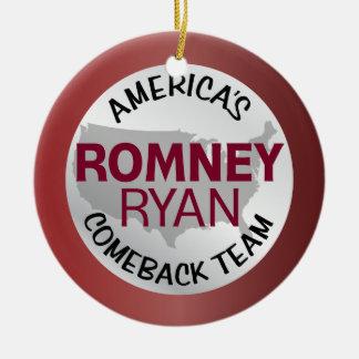 Romney Ryan America's Comeback Team Double-Sided Ceramic Round Christmas Ornament
