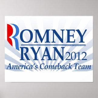 Romney Ryan, America's Comeback Team Posters
