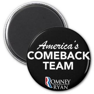 Romney Ryan America's Comeback Team Round (Black) 2 Inch Round Magnet