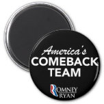 Romney Ryan America's Comeback Team Round (Black) Refrigerator Magnet